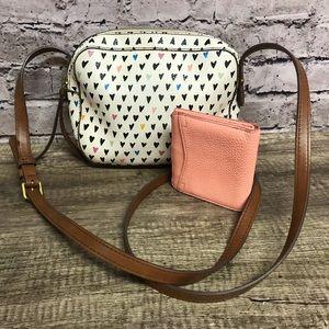 Fossil handbag crossbody with peach compact wallet